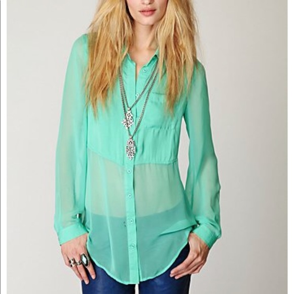 5d50bb44 Free People Tops | Sheer Button Up Tunic Size S | Poshmark